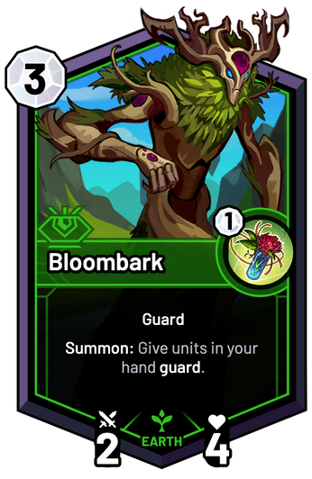 Bloombark - Summon: Give units in your hand guard.