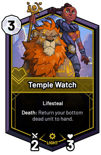 Temple Watch - Death: Return your bottom dead unit to hand.