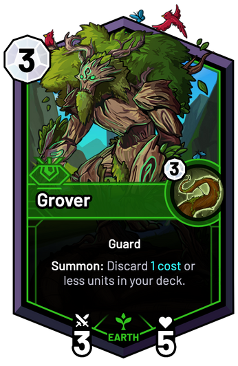Grover - Summon: Discard 1c or less units in your deck.