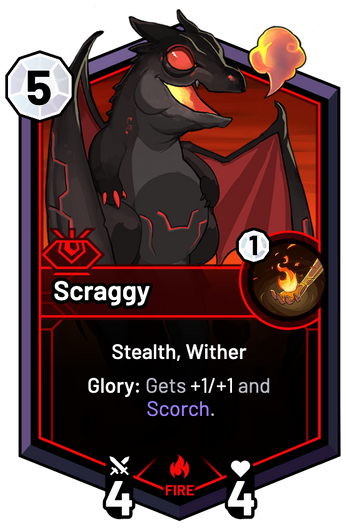 Scraggy - Glory: Gets +1/+1 and Scorch.