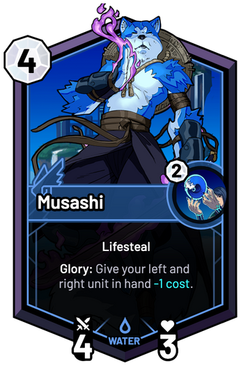 Musashi - Glory: Give your left and right unit in hand -1c.