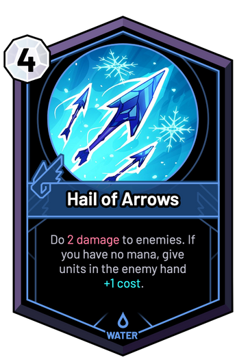 Hail of Arrows - Do 2 Damage to enemies. If you have no mana, give units in the enemy hand +1c.
