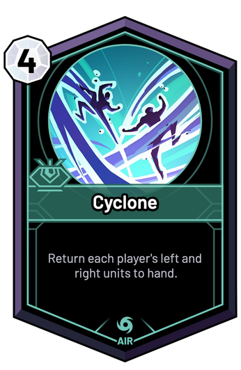 Cyclone - Return each player's left and right units to hand.