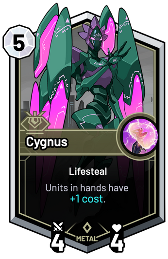 Cygnus - Units in hands have +1c.