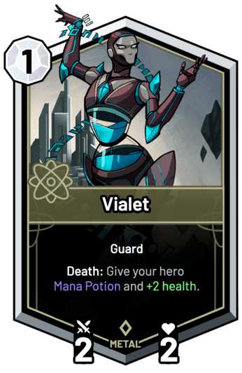 Vialet - Death: Give your hero Mana Potion and +2 Health.