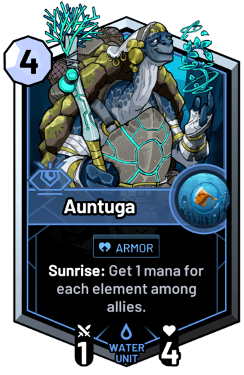 Auntuga - Sunrise: Get 1 mana for each element among allies.