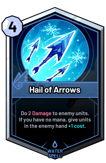 Hail of Arrows - Do 2 Damage to enemy units. If you have no mana, give units in the enemy hand +1c.
