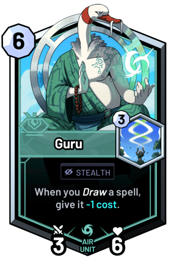 Guru - When you draw a spell, give it -1c.