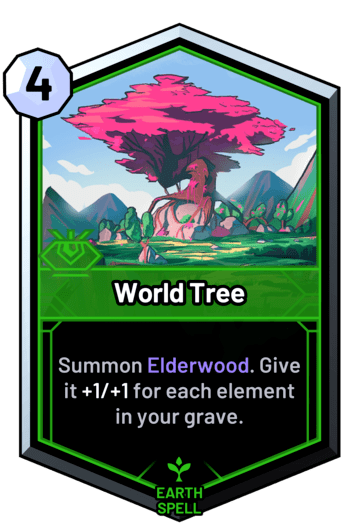 World Tree - Summon Elderwood. Give it +1/+1 for each element in your grave.