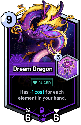 Dream Dragon - Has -1c for each element in your hand.