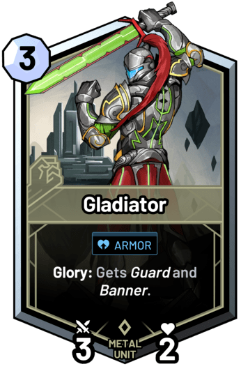 Gladiator - Glory: Gets guard and banner.