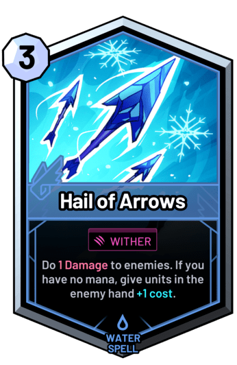 Hail of Arrows - Do 1 Damage to enemies. If you have no mana, give units in the enemy hand +1c.