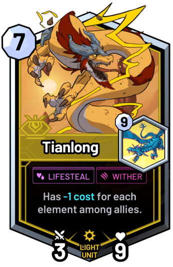 Tianlong - Has -1c for each element among allies.