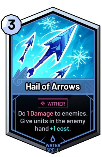 Hail of Arrows - Do 1 Damage to enemies. Give units in the enemy hand +1 cost.