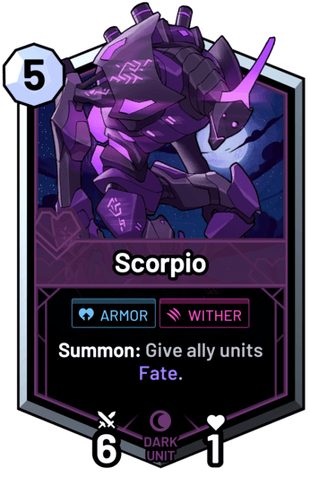Scorpio - Summon: Give ally units Fate.