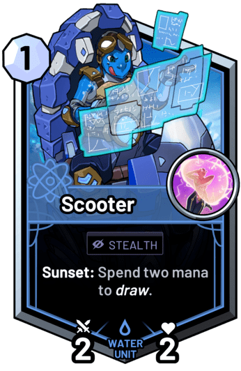 Scooter - Sunset: Spend two mana to draw.