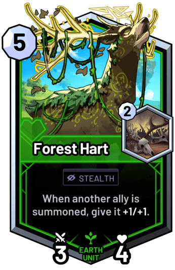 Forest Hart - When another ally is summoned, give it +1/+1.