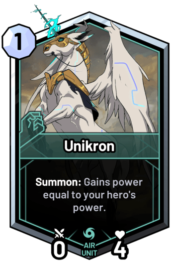 Unikron - Summon: Gains power equal to your hero's power.