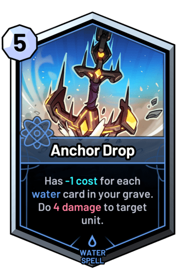 Anchor Drop - Has -1 cost for each water card in your grave. Do 4 damage to target unit.