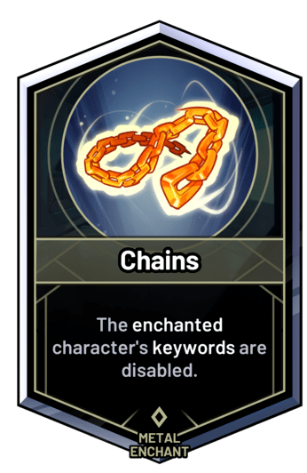 Chains - The enchanted character's keywords are disabled.