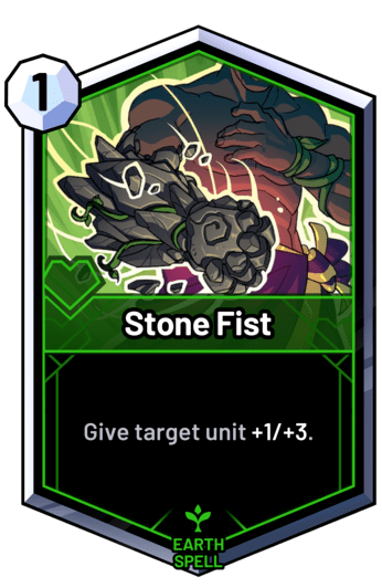 Stone Fist - Give target unit +1/+3.