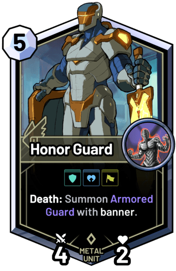 Honor Guard - Death: Summon Armored Guard with banner.