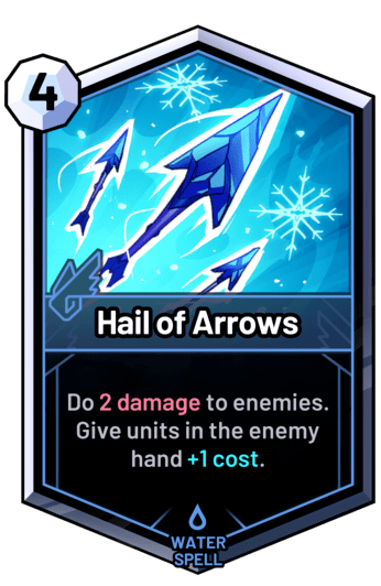 Hail of Arrows - Do 2 damage to enemies. Give units in the enemy hand +1 cost.