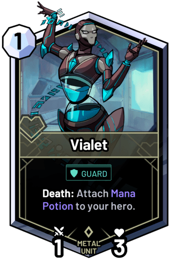 Vialet - Death: Attach Mana Potion to your hero.