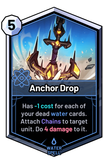 Anchor Drop - Has -1cost for each of your dead water cards. Attach Chains to target unit. Do 4damage to it.