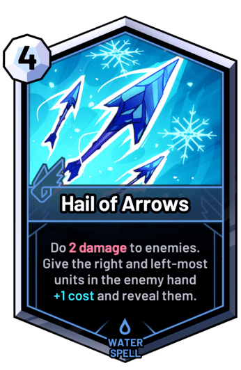 Hail of Arrows - Do 2 damage to enemies. Give the right and left-most units in the enemy hand +1 cost and reveal them.